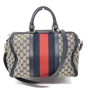 Auth Gucci Vintage Boston Canvas Crossbody Bag